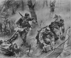 Illustration of soldiers fighting in war.