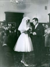 Valentina Tereshkova and her husband Andriyan Nikolayev at their weeding ceremony.