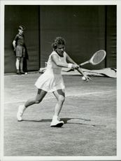 Lesley Turner Bowrey (Australia) plays against Lea Pericoli (Italy) in the Wimbledon Championship