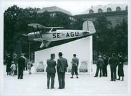 Flights Machine showcased in the Royal Garden in aviation Day. Airplane, air show, flight day, Defense, Army, Military. - 8 September 1938
