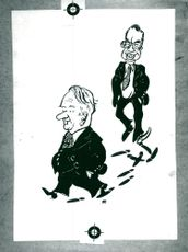 Caricature and satire depiction Gunnar Hedlund, Center Party Leader