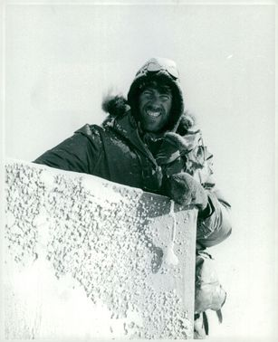 Edmund Hillary, Alpineist and Polar Scientist, on arrival at the South Pole