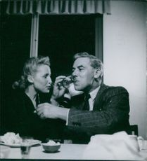 James Wright celebrating with his wife after coming back as an English Internee in Sweden. 1945