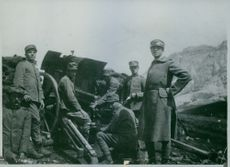 Lieutenant Francesco Orlando, son of the Minister of Jutice, at the front in command of a battery. 1915.