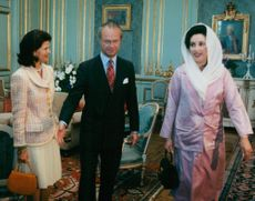 Queen Silvia, King Carl Gustaf and Pakistani Prime Minister Benazir Bhutto during Bhutto State Visit in Sweden.