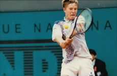 Russian tennis player Yevgueni Kafelnikov during the French Open at Roland Garros Stadium.