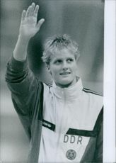 East German swimmer, Kristin Otto, winner of six gold medals, including the 50 meters freestyle at the Seoul Olympics, 1988.