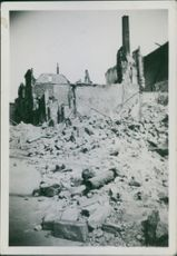 A view of a destroyed structure, Lübeck, 1943.