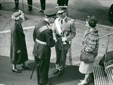 King Baudouin's visit to Sweden is welcomed by King Gustaf VI Adolf and Queen Louise