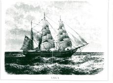 Contemporary illustration of Adolf Nordenskiöld's departure with Vega 1878 north of Siberia