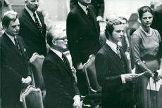 Olof Palme, President Henry Allard, King Carl XVI Gustaf and Queen Silvia at the opening of the Riksdag