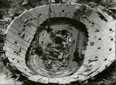 Aerial view of the Olympic Stadium under construction before the 1972 Olympic Games