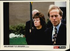 Billie Jean King leaves the church after the funeral of the American tennis player Vitas Gerulaitis.