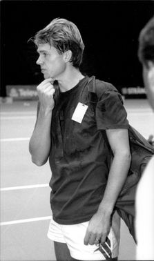 Portrait picture of tennis player Stefan Edberg taken in an unknown context.