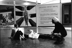 The artist Sture Nilsson and colleagues Nunne von Young and Bertil Englert at the National Exhibition the initiative of the National College of Art