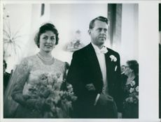 Johan Martin Ferner and Princess Astrid Maud Ingeborg during their wedding ceremony.