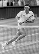 Tennis player Chris Lewis from New Zealand plays in WImbledon