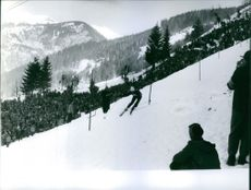 A photo of an Austrian alpine ski racer, considered among the best in the sport Toni Sailer skiing.