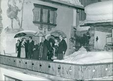 Princess Christina (Mrs. Magnuson) standing on terrace with other people.  Taken - 3 Feb 1966
