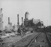 A photo of destroyed buildings in Finland. 1941.