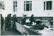 Soldiers carrying things as part of the Norwegian campaign in April 1940.