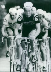 """1977  Dietrich (""""Didi"""") Thurau racing during bicycle race. Winner of the Andalusia and Paris-Nice events: Thurau has turned professional to join the two other leading German cyclists Gregor Braun and Klaus-Peter Thaler."""