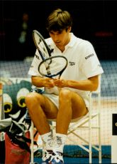 Michael Stich warms up for the Stockholm Open