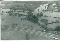 Floods 1966-1989:The aerial view of flood water.