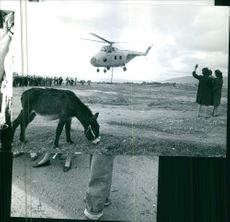 People gathered while looking the helicopter during Russian Civil War.