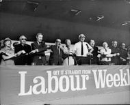 """Labor ends his party conference by singing """"Auld Lang Syne""""."""
