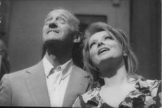 David Niven and Virna Lisi looking up.