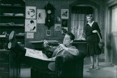 A scene from the film Enhörningen, Inga Tidblad with Sture Lagerwall, 1955.