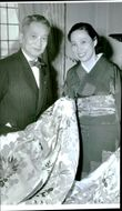 Mr and Mrs Noguchi show a beautiful kimono. Japan's leading textile artist