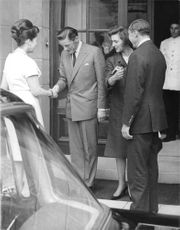 Princess Alexandra and Angus Ogilvy welcome their guests, 1965.