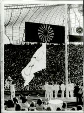 The Olympic flag is lifted during the opening ceremony of the 1972 Olympic Games
