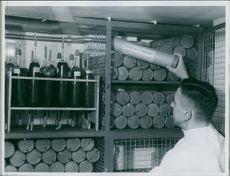 """Man collecting the blood of universal group """"O"""" in the laboratory."""