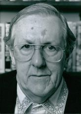 Close up of British writers Brian Aldiss