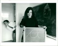 Schools 1980-1987:Mrs Pauline Peace with stuart williams.