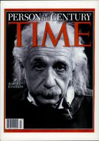 "Portrait image of Albert Einstein when the magazine ""Time Magazine"" featured him as the centuries person."