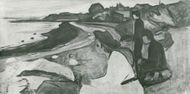 """Black White Picture of Edvard Munch's """"Young People on the Beach"""""""