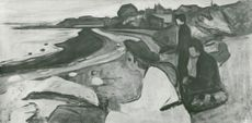 "Black White Picture of Edvard Munch's ""Young People on the Beach"""