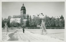 Strängnä with the cathedral in the background winter image - postcard