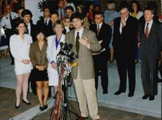 William Kennedy Smith speaks during a press conference