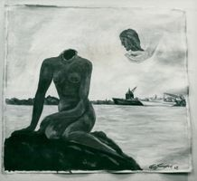"""Painting of Carlo Svendsen representing a headless """"The Little Mermaid"""" from 1964"""