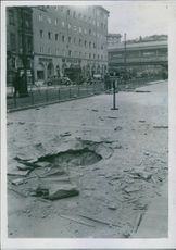View of street after the bomb blast.