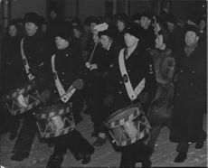 Drummers and parade at the New Years celebration on Skeppsholmen