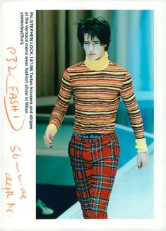 Fashion design,A Bay City Roller Style Tartan Is Mixed With Stripes.