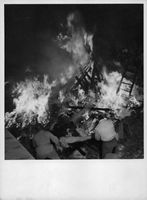 Fire after bombing of Finnish town, 1940.