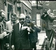 Lord George Brown leaving Downing Street after reporting to Mr. Wilson
