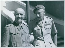 Marshal Badoglio with Lt. General Sir Noel Mason-Macfarlane, head of the British Military Mission in Brindisi, 1943.